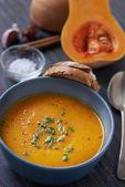 Delicious butternut squash soup — Stock Photo