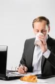 Man in business suit has caffeine coffee fix — Fotografia Stock