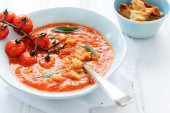 Healthy wholesome diet tomato soup — Stock Photo