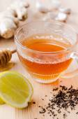 Tea with ginger, lemon and honey  — Stock Photo
