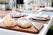 Outdoor party simple table setting  — Stock Photo