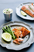 Healthy grilled salmon fillets gourmet meal  — Stock Photo