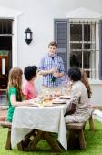 Outdoor entertaining with champagne and food   — Stock Photo