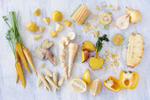 Yellow colored fruit and veg — Stock Photo