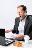 Yawning man  with  breakfast — Stock Photo