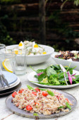 Assortment of salad sides for lunch party — Stock Photo