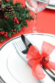 Red christmas table setting  — Stock Photo