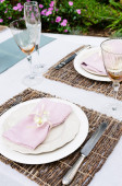 Rustic placemat and table setting  — Stock Photo