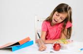 School girl does her homework — Stock Photo