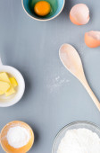 Wooden spoon with ingredients — Stock Photo