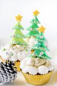 Christmas tree cupcakes — Stock Photo