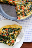 Slice of spinach frittata  — Stock Photo