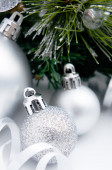 Silver baubles and ribbons  — Stock Photo