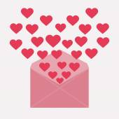 Letter with hearts — Stock Vector