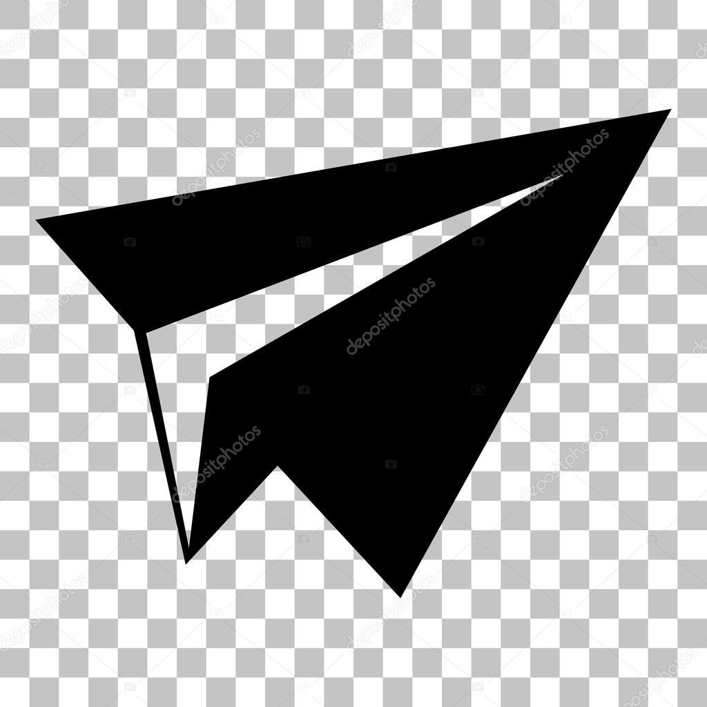 Signe d avion de papier ic ne de style plat noir sur fond - Dessin avion stylise ...
