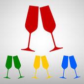 Sparkling champagne glasses. — Stock Vector