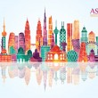 Asia skyline detailed silhouette — Stock Vector #63567471