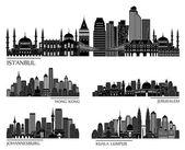 Skyline detailed silhouette set — Stock Vector