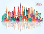 Asia skyline detailed silhouette — Stock Vector