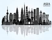 Asia skyline detailed silhouette — Stock Vector