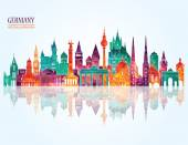 Germany famous landmarks skyline — Stock Vector