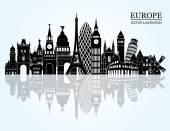 Europe skyline detailed silhouette — Stock Vector