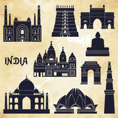 India landmarks and monuments — Stock Vector