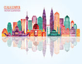 Kuala Lumpur detailed silhouette — Stock Vector