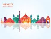Mexico famous landmarks skyline — Stock Vector
