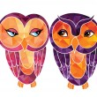 Cute and happy owls — Stock Vector #64044753