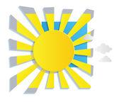 Fond de soleil et nuages — Vecteur