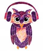 Owl music fan — Stock Vector