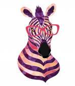 Zebra in trendy glasses — Stock Vector