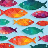 Pattern with colorful fish — Vetor de Stock