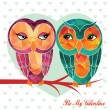 Valentine's day card with owls — Stock Vector #65379663