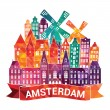 Amsterdam skyline city — Vettoriale Stock  #65379787