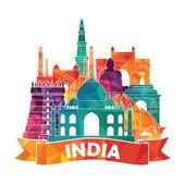 India skyline illustration — Stock Vector