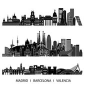 Spain silhouette set — Stock Vector