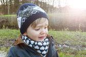 Beautiful boy crying outdoors — Stockfoto