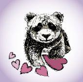 Panda bear med hjärtan — Stockvektor