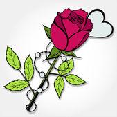 Rose rouge avec coeur — Vecteur