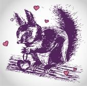 Cute Squirrel in love — Stockvektor