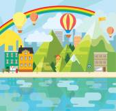Charming and cheerful vector graphic city illustration — Stock Vector