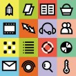 Simple vector graphic multimedia icons for web page with colorful backgrounds — Stock Vector #63670921
