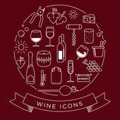 Wine icon set. With minimalist lines — Stock Vector