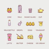 Dairy products icons set — Stock Vector
