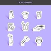 Servizio di pulizia, set di icone di pulizia — Vettoriale Stock