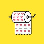 Toilet paper with hearts icon — ストックベクタ