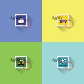 Vehicles, transport stamps — Vetor de Stock