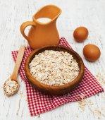 Bowl of oat flake — Stock Photo